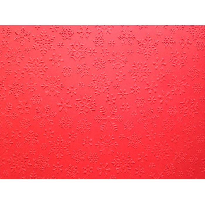 Красная бумага с тиснением снежинки А4 для скрапбукинга
