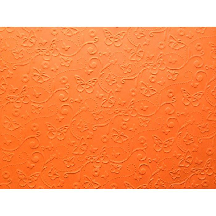 Оранжевая бумага с тиснением бабочки А4 для скрапбукинга