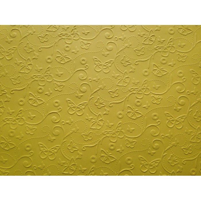 Ярко-жёлтая бумага с тиснением бабочки А4 для скрапбукинга