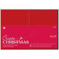 Заготовка для открыток с конвертами красная  Create Christmas А6