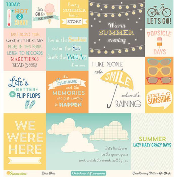 Бумага Blue Skies, коллекция Summertime для скрапбукинга