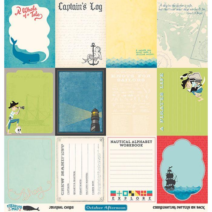 Бумага Journal Cards, коллекция Treasure Map для скрапбукинга