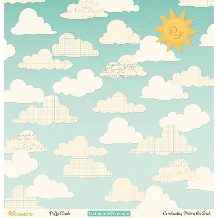 Бумага Puffy Clouds, коллекция Summertime для скрапбукинга