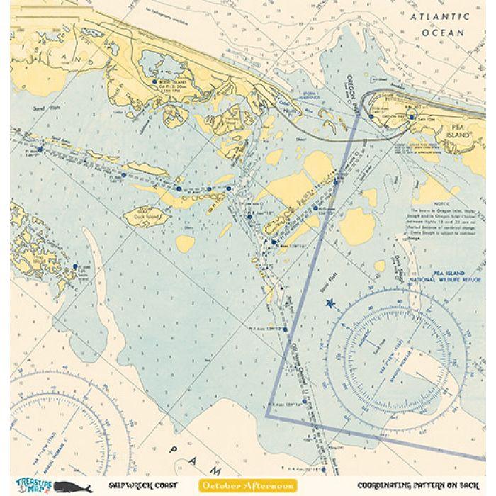 Бумага Shipwreck Coast, коллекция Treasure Map для скрапбукинга