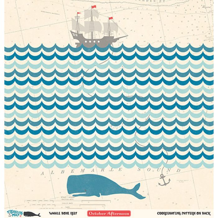 Бумага Whale Bone Reef, коллекция Treasure Map для скрапбукинга