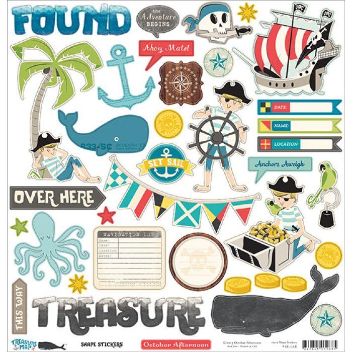 Набор наклеек, коллекция Treasure Map для скрапбукинга