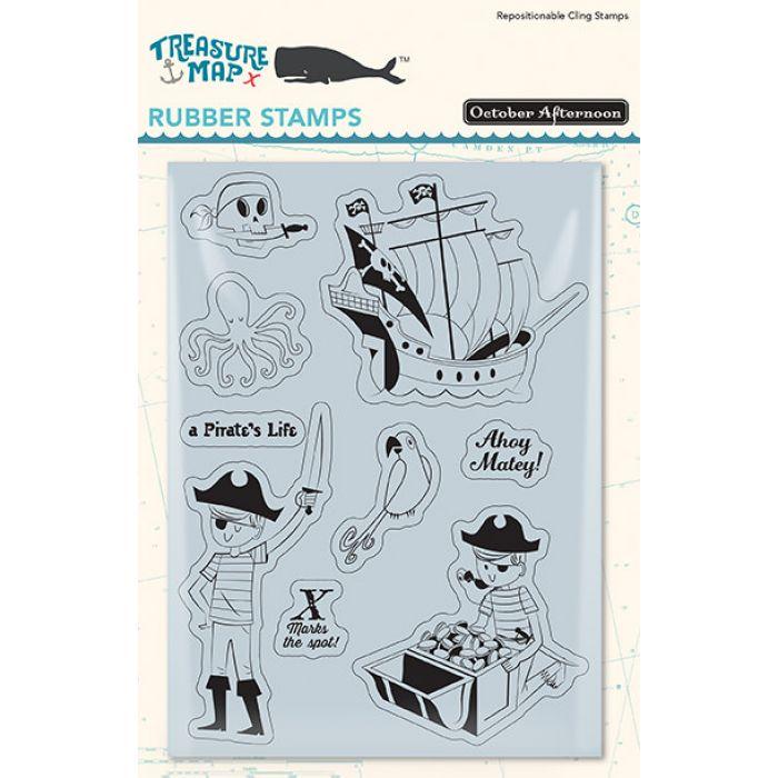 Набор резиновых штампов, коллекция Treasure Map для скрапбукинга
