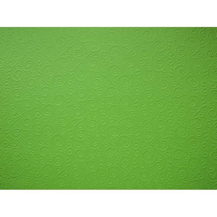 Ярко-зелёная бумага с тиснением завитки для скрапбукинга
