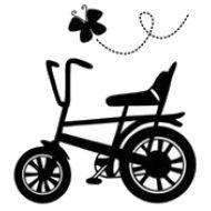 Штамп велосипед и бабочка