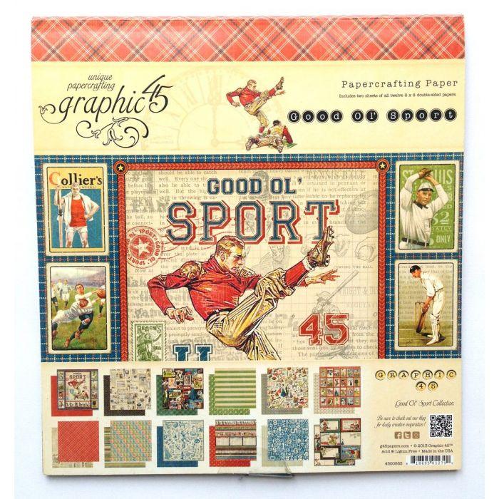 Набор бумаги Good Ol' Sport, 20 х 20 см для скрапбукинга