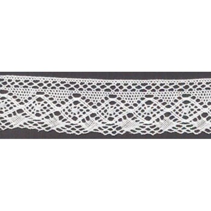 Кружево хлопчатобумажное белое, 30 мм для скрапбукинга
