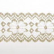 Кружево-трикотаж белое с золотом, 50 мм