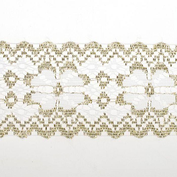 Кружево-трикотаж белое с золотом, 50 мм для скрапбукинга