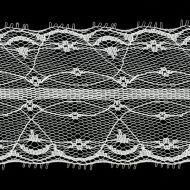 Кружево-трикотаж белое, 65 мм
