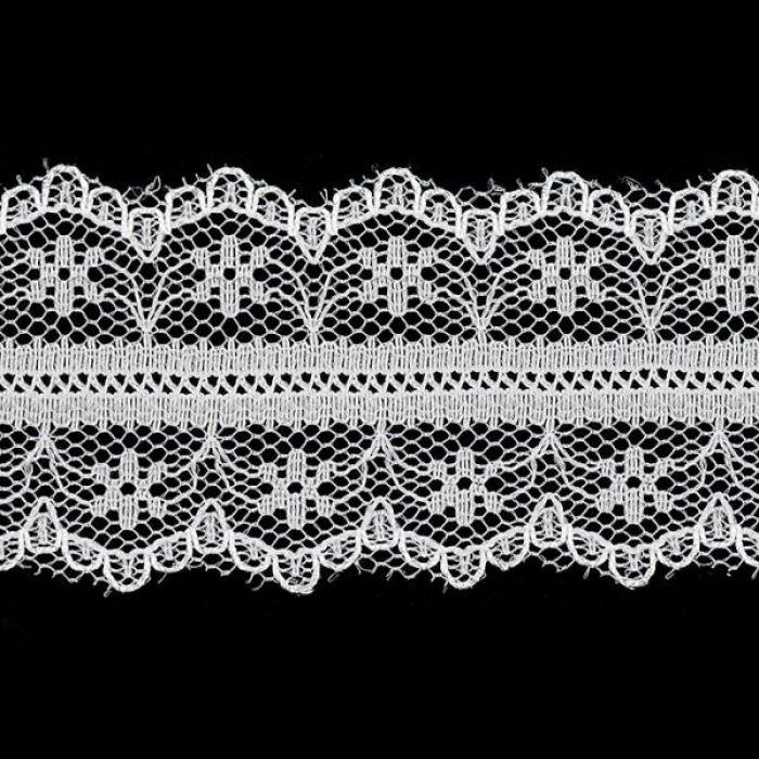 Кружево-трикотаж белое, 30 мм для скрапбукинга