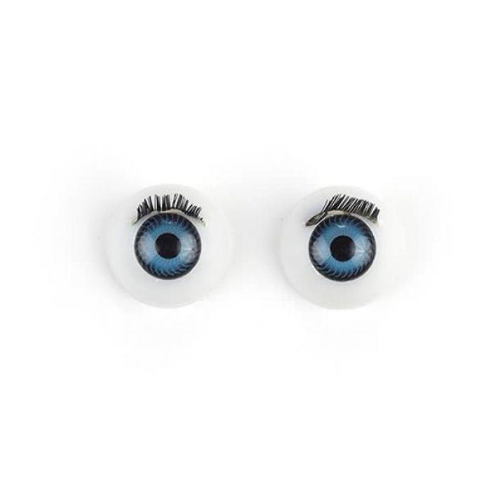 Глаза с ресничками круглые голубые, 14 мм для скрапбукинга