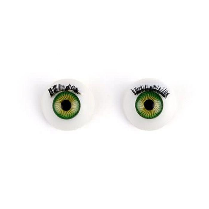 Глаза с ресничками круглые зеленые, 14 мм для скрапбукинга