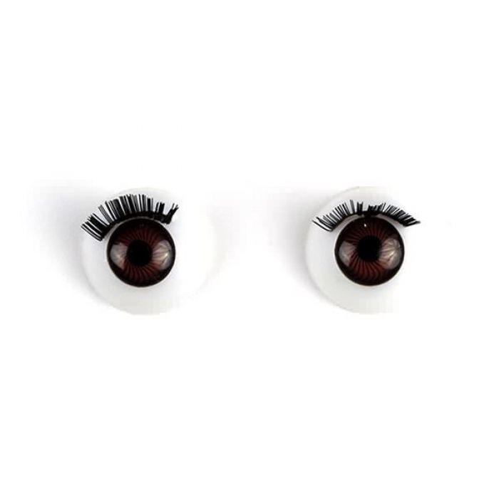 Глаза с ресничками круглые коричневые, 16 мм для скрапбукинга