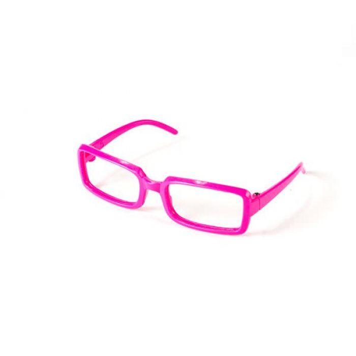Очки без стекла розовые прямоугольные, 8 см для скрапбукинга