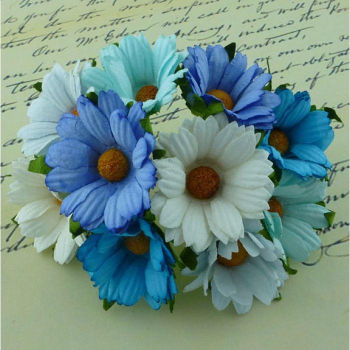 Хризантемы бело-голубые для скрапбукинга