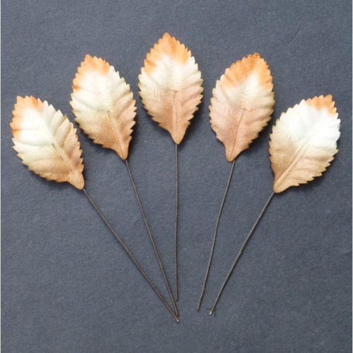 Листья бело-оранжево-коричневые, 35 мм для скрапбукинга