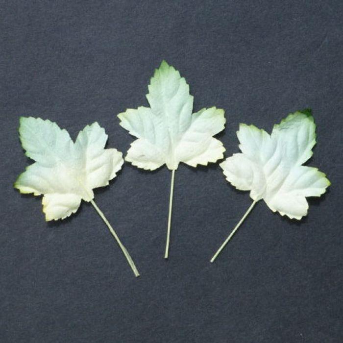 Листья кленовые бело-зеленые, 45 мм для скрапбукинга