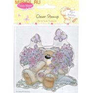 Штамп цветы и бабочки