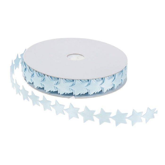 Лента тканевая из звездочек голубая, 1,4 см для скрапбукинга