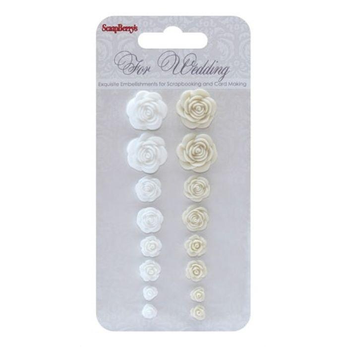 Набор объемных розочек Свадьба 2, коллекция Свадебная для скрапбукинга