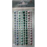 Клеевые полужемчужинки зелено-розово-голубые