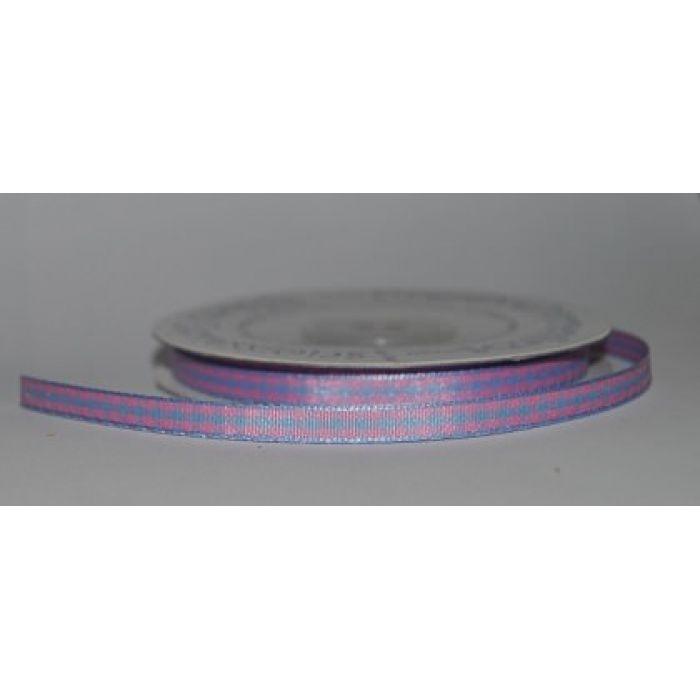 Лента Клетка розово-голубая, 6 мм для скрапбукинга