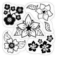 Набор резиновых штампов цветы
