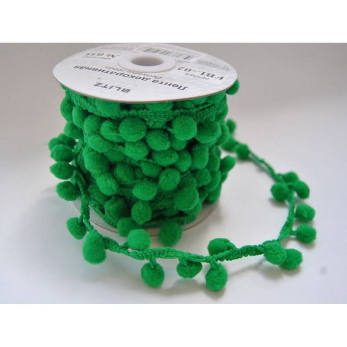 Лента помпоны зеленые для скрапбукинга