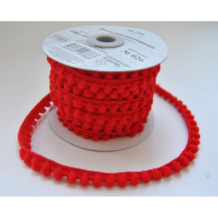 Лента шарики красные для скрапбукинга