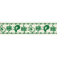 """Лента хлопковая  """"Птички"""" зеленые, 16 мм"""