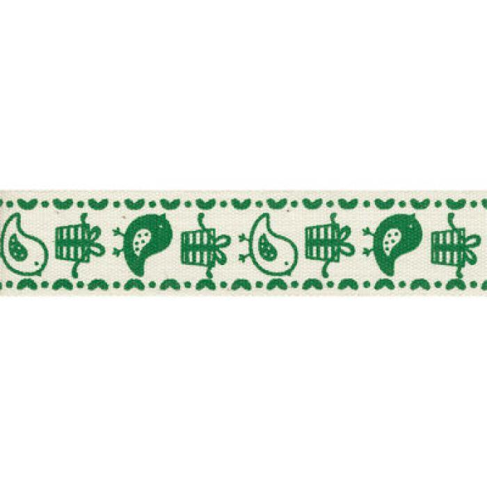 """Лента хлопковая  """"Птички"""" зеленые, 16 мм для скрапбукинга"""