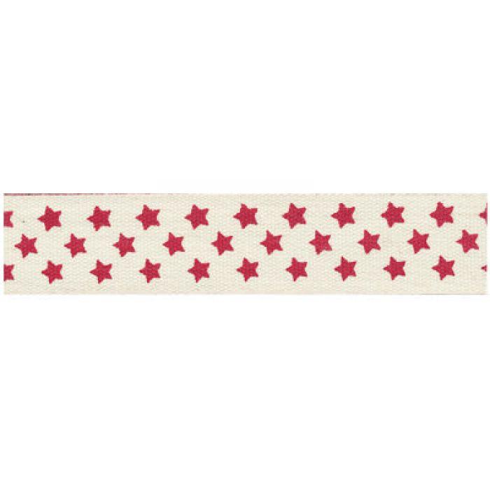 """Лента хлопковая  """"Звезды"""" красные на белом, 16 мм для скрапбукинга"""