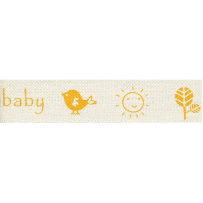 """Лента хлопковая """"A pretty baby"""", желтый, 16 мм для скрапбукинга"""