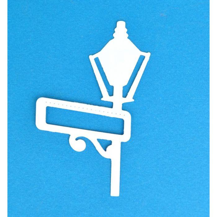Фонарь с вывеской, вырубка из картона  для скрапбукинга