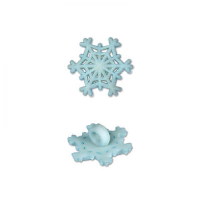 Пуговица снежинка голубая для скрапбукинга
