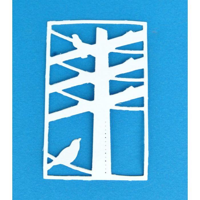 Птицы на проводах, вырубка из белого картона  для скрапбукинга
