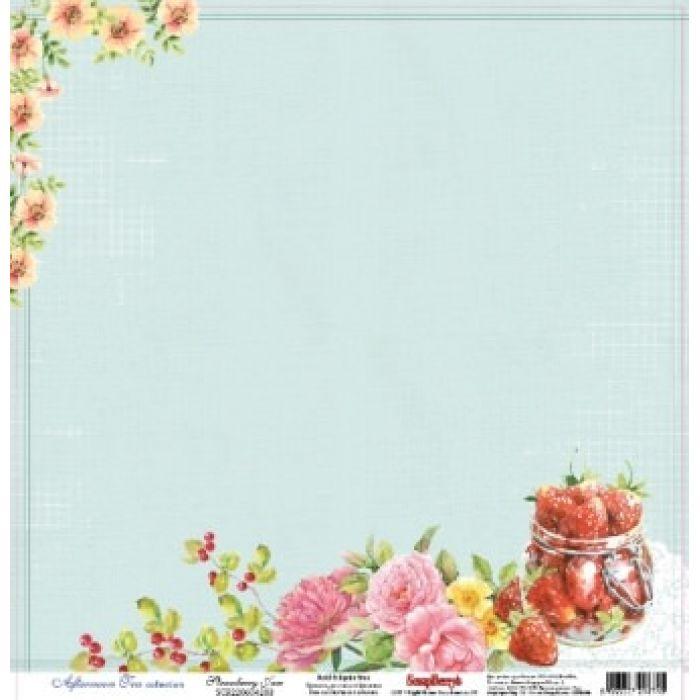 Бумага Сладости Клубничный джем, коллекция Полуденный чай для скрапбукинга