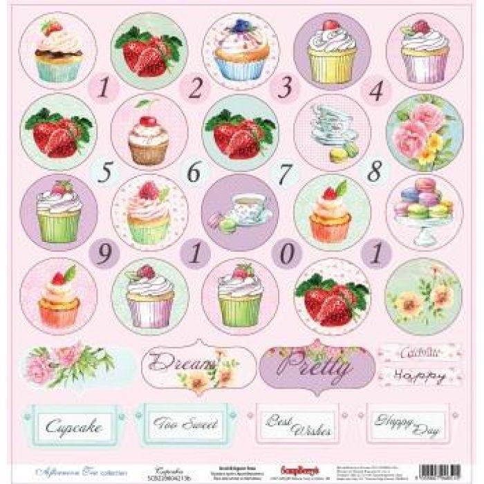 Бумага Пирожные, коллекция Полуденный чай, англ. для скрапбукинга