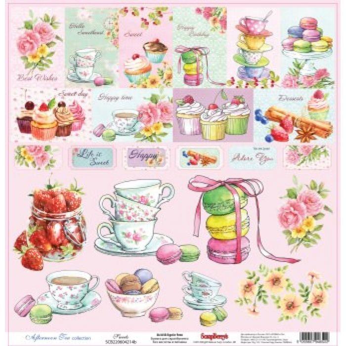 Бумага Сладости, коллекция Полуденный чай, англ. для скрапбукинга