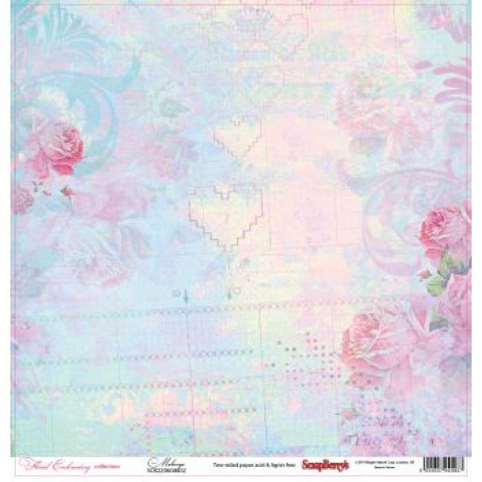 Бумага Меланж, коллекция Цветочная вышивка для скрапбукинга
