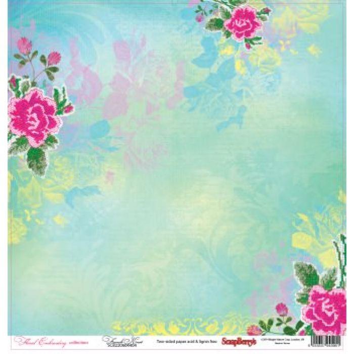 Бумага Французский узелок, коллекция Цветочная вышивка для скрапбукинга