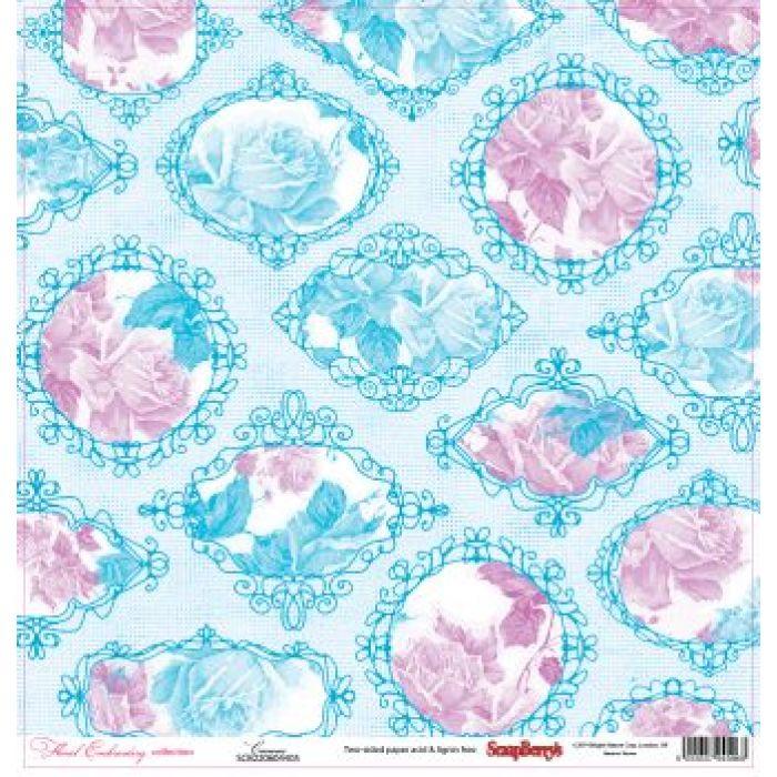 Бумага Канва, коллекция Цветочная вышивка для скрапбукинга