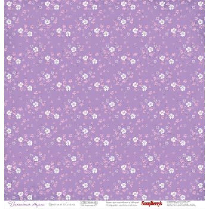 Бумага Цветы и облака, коллекция Волшебная страна для скрапбукинга