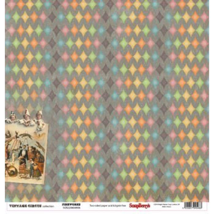 Бумага Фейерверк, коллекция Старый цирк для скрапбукинга