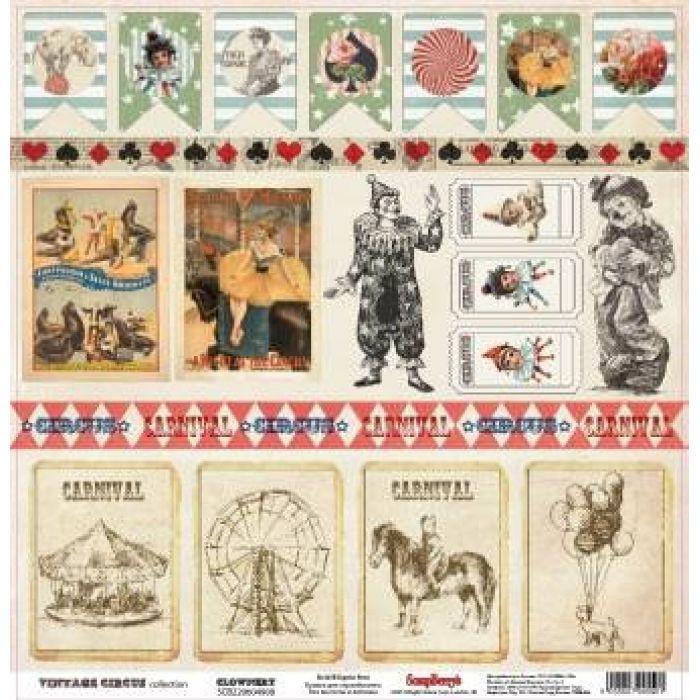Бумага Клоунада, коллекция Старый цирк для скрапбукинга